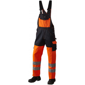 Latzhose, EN 20471 klasse 2, 11107 - Orange/Marine
